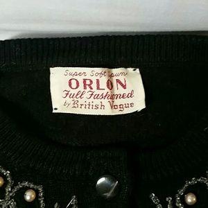 British Vogue vintage black and pearl cardigan